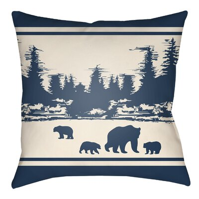 Livesay Woodland Indoor/Outdoor Throw Pillow Size: 20 H x 20 W, Color: Navy Blue/Beige