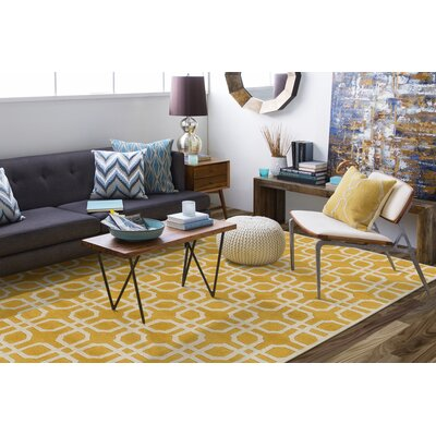 Murrah Yellow/Ivory Area Rug Rug Size: Rectangle 76 x 96