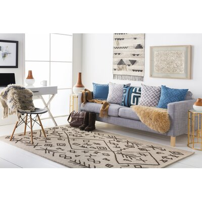 Litz Hand-Tufted Tan Area Rug Rug Size: Runner 2 x 8