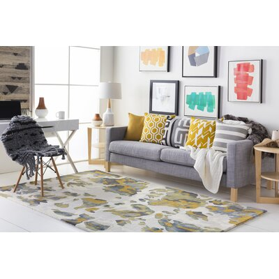Geology Lillian Hand-Tufted Yellow Area Rug Rug Size: 4 x 6