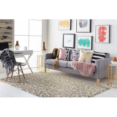 Ginter Hand-Tufted Gray/Yellow Area Rug Rug Size: Rectangle 4 x 6