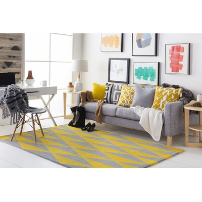 Yowell Hand-Crafted Yellow/Gray Area Rug Rug Size: Runner 23 x 10