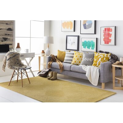 Bloch Hand-Tufted Gold Area Rug Rug Size: Runner 2' x 8'