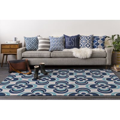 Mraz Navy Blue/Aqua Area Rug Rug Size: Rectangle 5 x 76