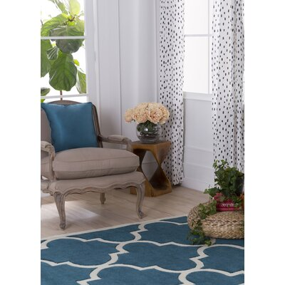 Daubert Hand-Tufted Teal/Ivory Area Rug Rug Size: Rectangle 5 x 76