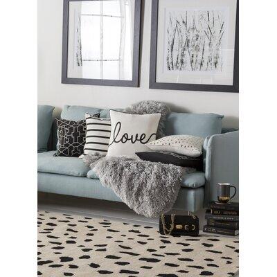 Glyph Cotton Throw Pillow Color: White/ Black