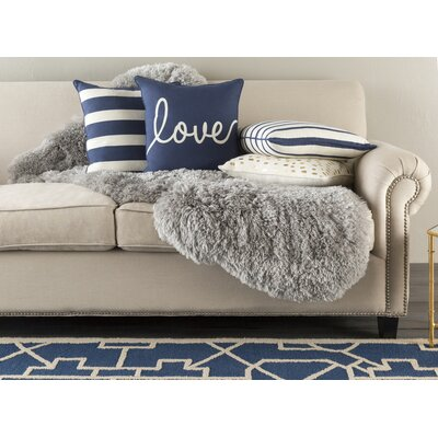 Carnell Love Cotton Throw Pillow Color: Navy/ White