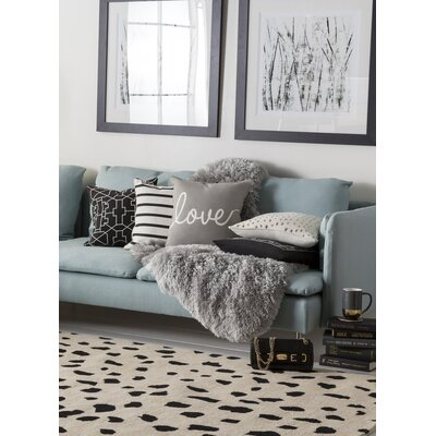 Carnell Love Cotton Throw Pillow Color: Gray/ White