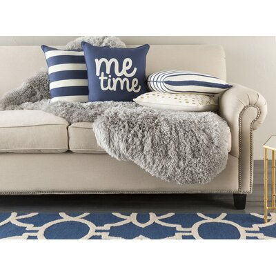 Carnell Me Time Cotton Throw Pillow Cover Color: Navy/ White