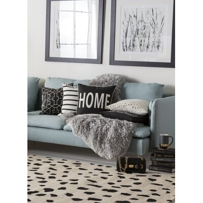 Carnell Home Square Cotton Throw Pillow Color: Black/ White