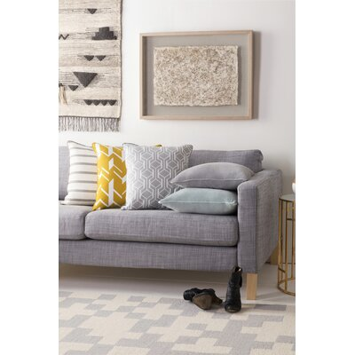 Antonia Contemporary Geometric Woven Cotton Throw Pillow Color: Gray/ White