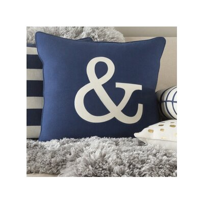 Glyph Ampersand Cotton Throw Pillow Color: Navy/ White