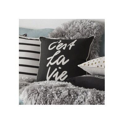 Glyph Cest La Vie Cotton Throw Pillow Cover Color: Black/ White