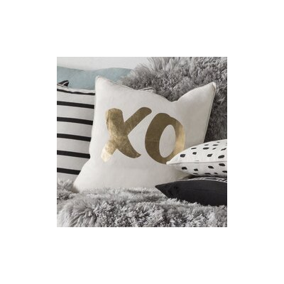 Glyph XO Cotton Throw Pillow Cover Color: White/ Metallic Gold