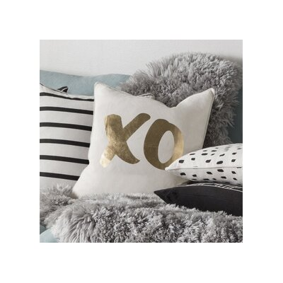 Carnell XO Square Cotton Throw Pillow Color: White/ Metallic Gold