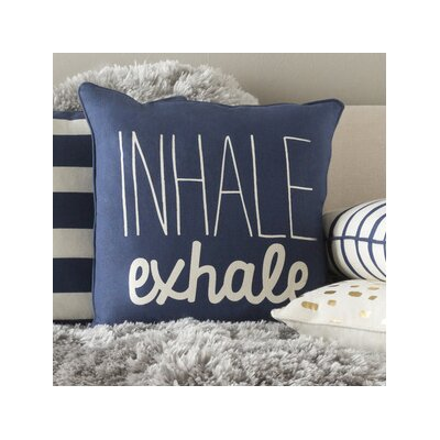 Carnell Text Square Cotton Throw Pillow Color: Navy/ White
