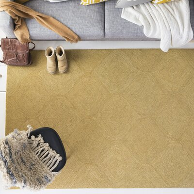 Bloch Hand-Tufted Gold Area Rug Rug Size: Rectangle 9 x 13