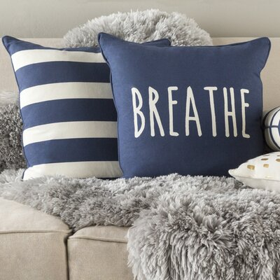 Carnell Breathe Cotton Throw Pillow Cover Color: Navy/ White