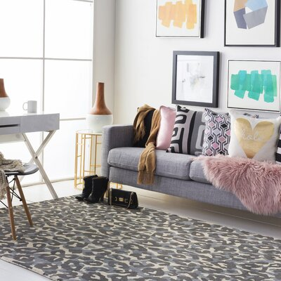 Geology Addison Hand-Tufted Gray Area Rug Rug Size: 9 x 13