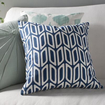 Arsdale Geometric Cotton Throw Pillow Cover Color: Navy/ White