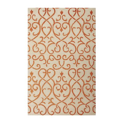 Brightwood White/Orange Area Rug Rug Size: 76 x 96