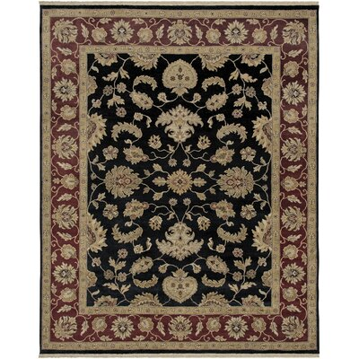 Victoire Ebony/Red Area Rug Rug Size: Rectangle 2 x 3