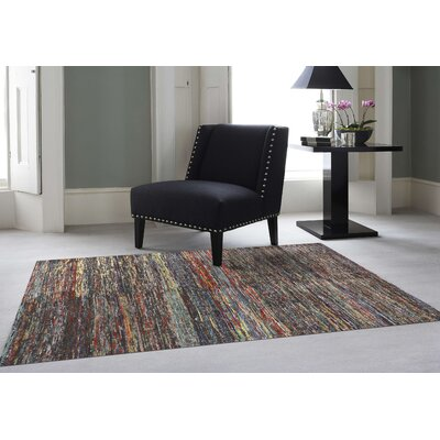 Chic Rainbow Hand Woven Silk Gray/Red/Blue Area Rug Rug Size: Rectangle 5 x 8