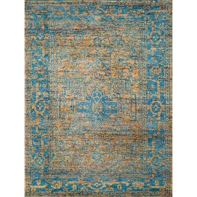 Silkshine Gold/Blue Area Rug Rug Size: 8 x 10