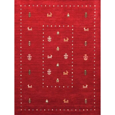 Pressley Hand Woven Silk Red/Green/Black Area Rug Rug Size: 9 x 12