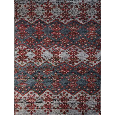 Pouncy Hand-Knotted Gray Area Rug Rug Size: 5 x 8