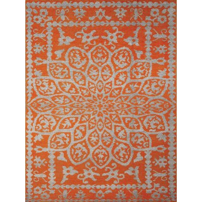 Gunner Hand-Knotted Orange Area Rug Rug Size: 36 x 56