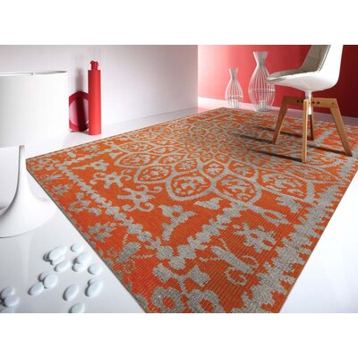 Gunner Hand-Knotted Orange Area Rug Rug Size: 3'6