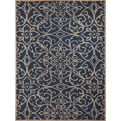 Eastin Hand-Woven Silk Navy Area Rug Rug Size: 5 x 8