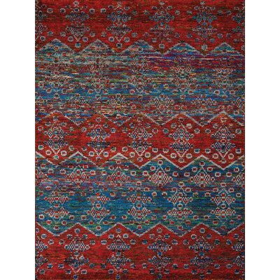 Silkshine Blue/Red Area Rug Rug Size: 8 x 10