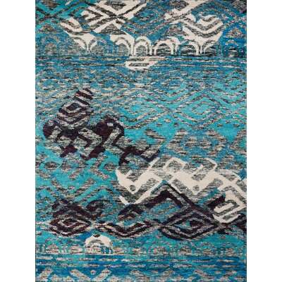 Silkshine Blue Area Rug Rug Size: 5 x 8