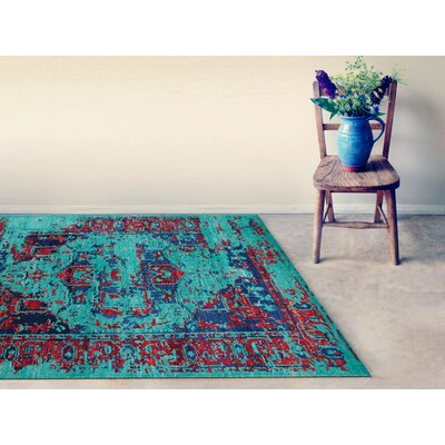 Silkshine Hand Knotted Silk Turquoise Area Rug Rug Size: Rectangle 8 x 10