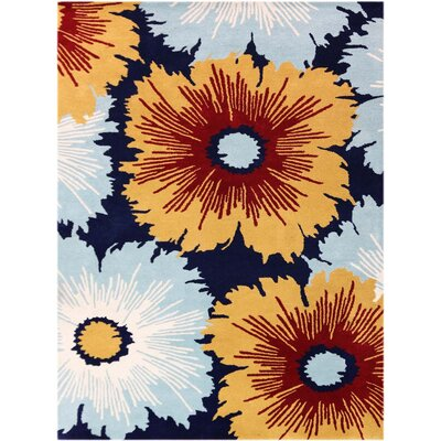 Omicron Hand-Tufted Navy Area Rug Rug Size: Rectangle 76 x 96