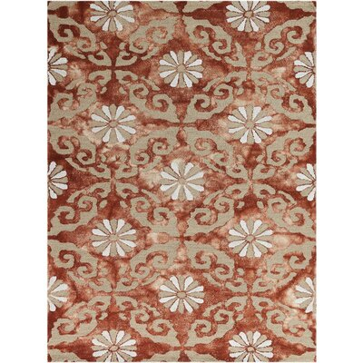 Kanoka Hand-Tufted Red Area Rug Rug Size: 5 x 8