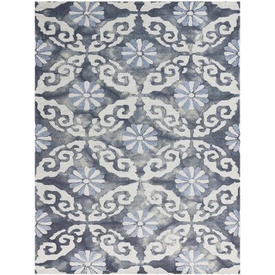 Bertina Hand Tufted White/Sky Blue/Spruce Blue Area Rug Rug Size: Rectangle 76 x 96