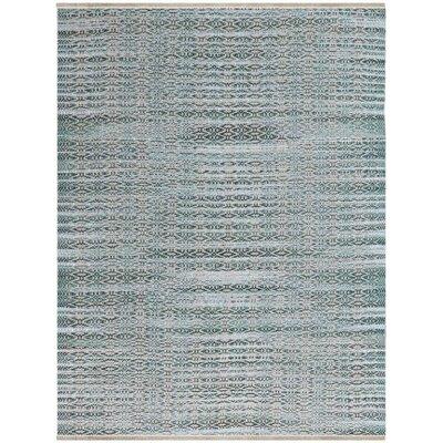 Bertrand Flat-Weave Aqua Area Rug Rug Size: 2 x 3
