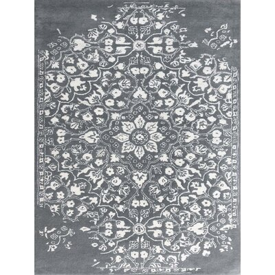 Artist Hand-Tufted Gray/White Area Rug Rug Size: 76 x 96