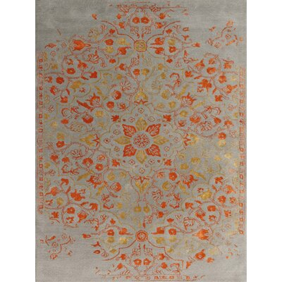 Hadassah Hand-Tufted Silver/Orange Area Rug Rug Size: Rectangle 76 x 96
