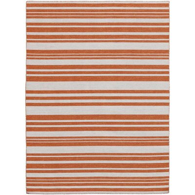 Elana Flat-Weave Orange Area Rug Rug Size: 5 x 8