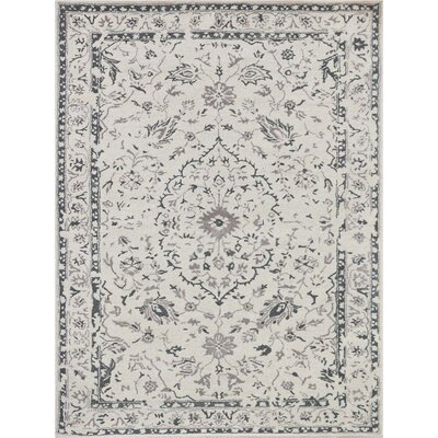 Hadassah Hand-Tufted White and Silver Area Rug Rug Size: Rectangle 76 x 96