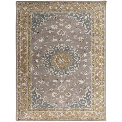 Eternity Hand-Tufted Gray/Gold Area Rug Rug Size: 76 x 96