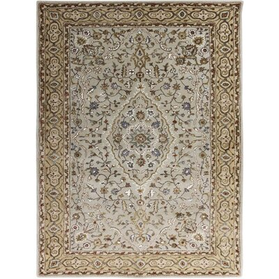 Eternity Hand-Tufted Ivory and Gold Area Rug Rug Size: 76 x 96