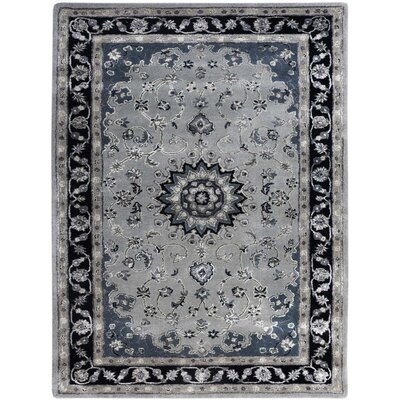 Eternity Hand-Tufted Gray/Navy Area Rug Rug Size: 76 x 96