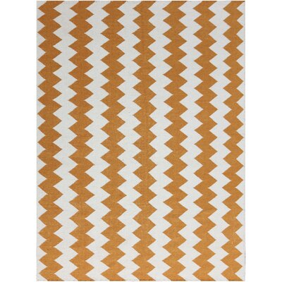 Pietsch Orange/White Area Rug Rug Size: 5 x 8