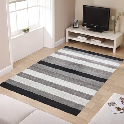 Blend Hand-Woven Gray/Black Area Rug Rug Size: 10 x 14
