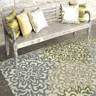 Piazza Gray/Green Area Rug Rug Size: 76 x 96